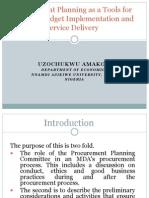 Procurement Planning and Budget Implementation