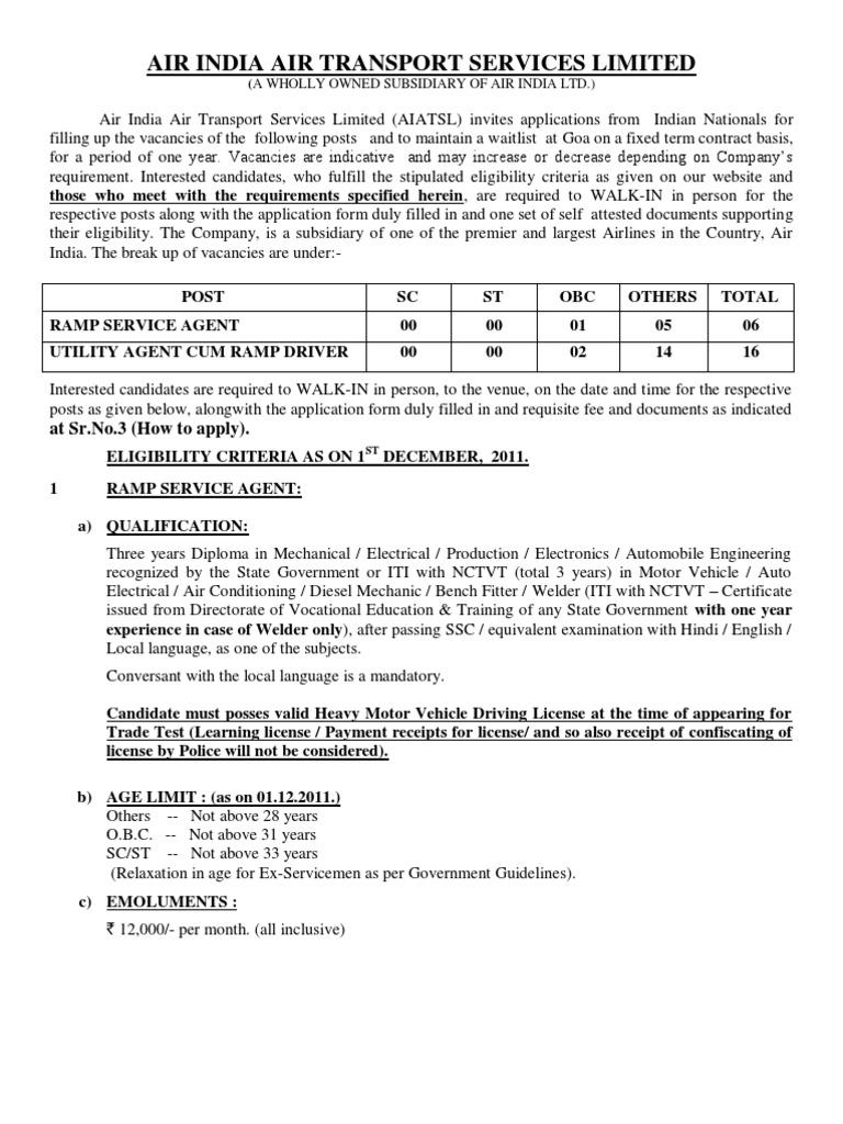 Air India AIATSL Goa Jan 2012 Recruitment SSC / Diploma   Driver\'s ...