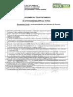 Documentos Gerais Para Abertura de Processo - Atividades industriais - Simplificado