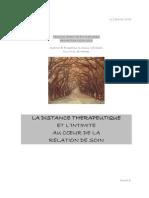 Distance Therapeutique Et Intimite Dans Relation de Soins
