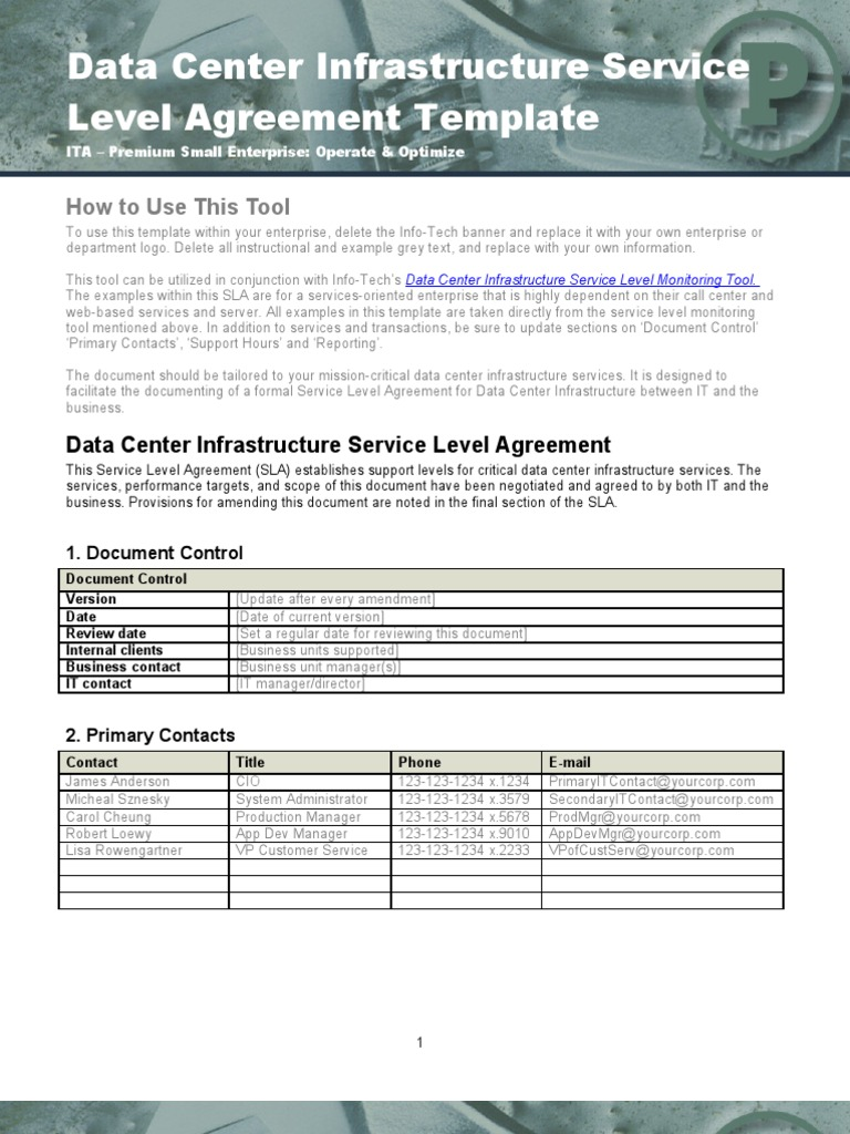 Data Center Infrastructure SLA Template | Service Level Agreement | Data  Center