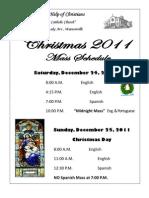 Mass Schedule Flyers 2011