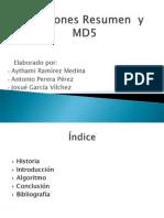 Funciones Resumen y Md5