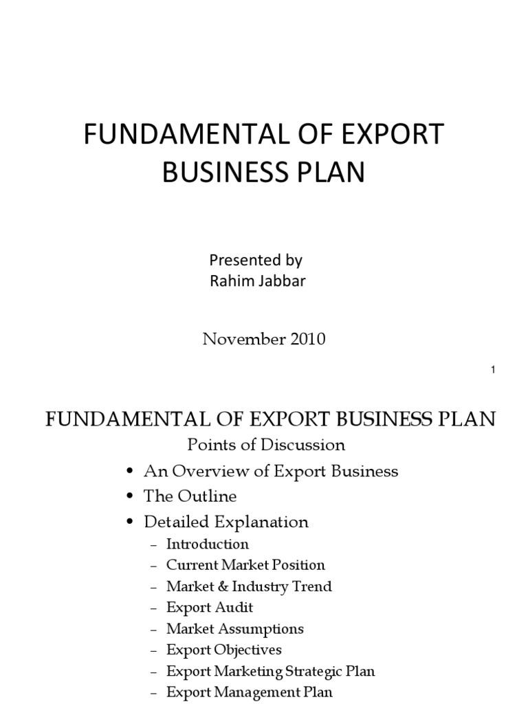 Fundamentals of Export Business Plan Major Points   Market ...