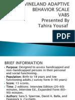 Vineland Adaptive Behavior Scale Vabs