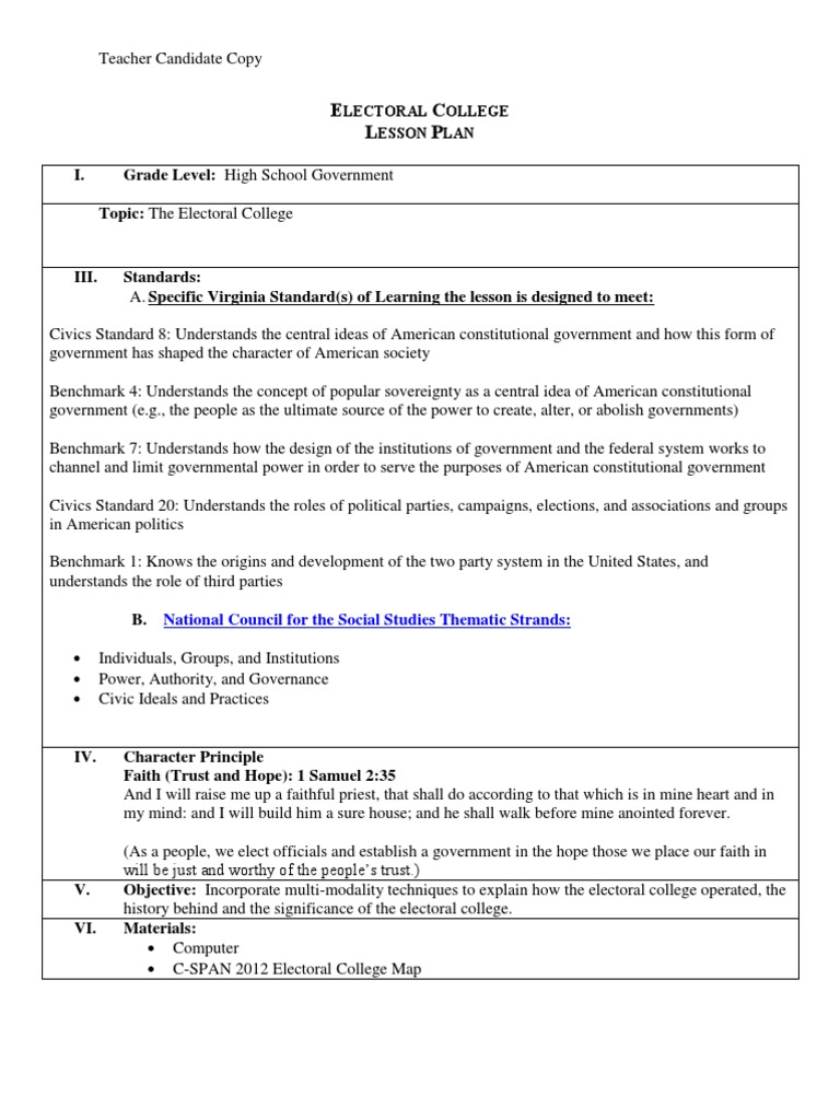 Electoral College Lesson | Electoral College (United States) | Swing ...