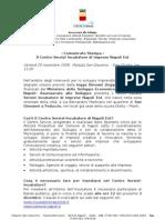 Centro Servizi Incubatore Napoli Est - Comunicato CSI