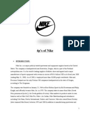 conformidad entidad origen  4 P's of Nike | Nike | Marketing