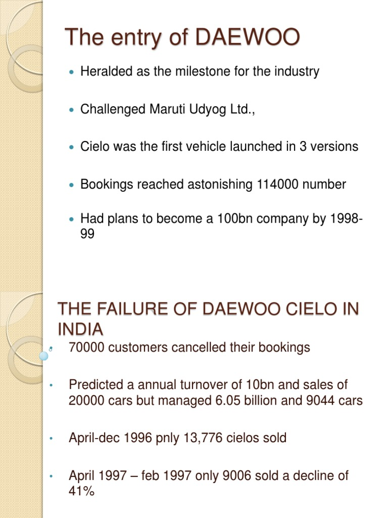 The Failure of Daewoo Cielo in India | Customer Relationship Management |  Luxury Vehicles