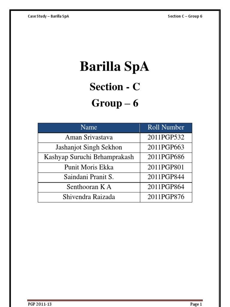 sec c group barilla case study shelf life inventory