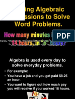 Writing Algebraic Expressions to Solve Word Problems