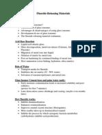 Outline 7, Fluoride Releasing Materials