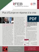 Plus d'Europe en réponse à la crise, Infor FEB 41, 21 décembre 2011