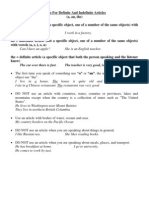 Rules for Definite and Indefinite Articles