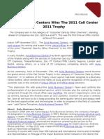 Avila Business Centers vence troféu Call Center 2011 - PR ABC 18-11-11_EN