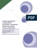 Analiza geografică comparativă a populaţiei şi aşezărilor umane din statele Turcia şi Botswana