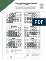2012 New York State Legislative Session Calendar