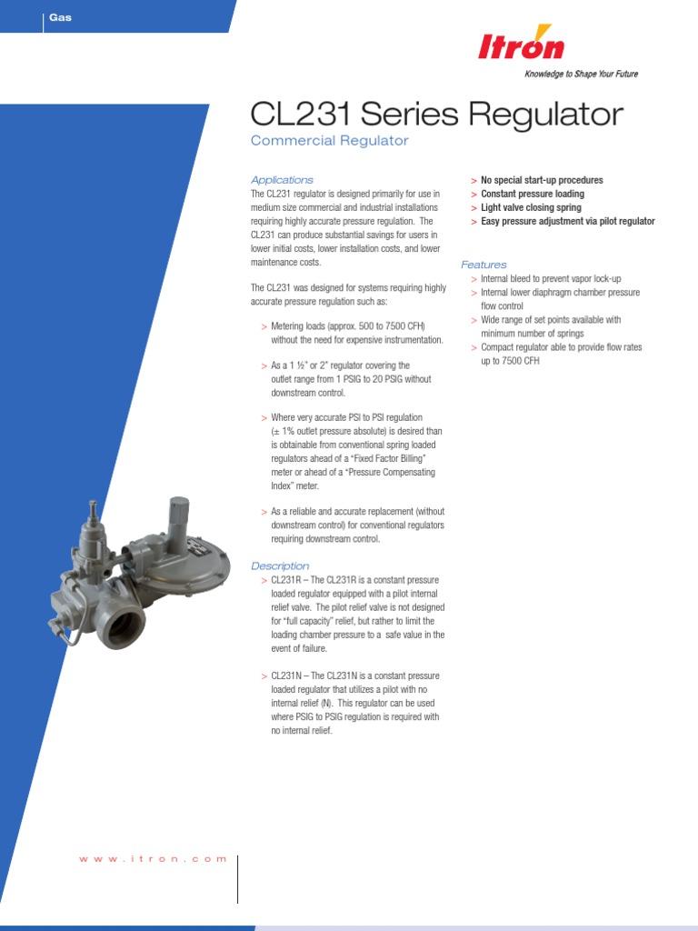 Cl231 Gas Regulator Valve Pipe Fluid Conveyance Itron Wiring Diagram