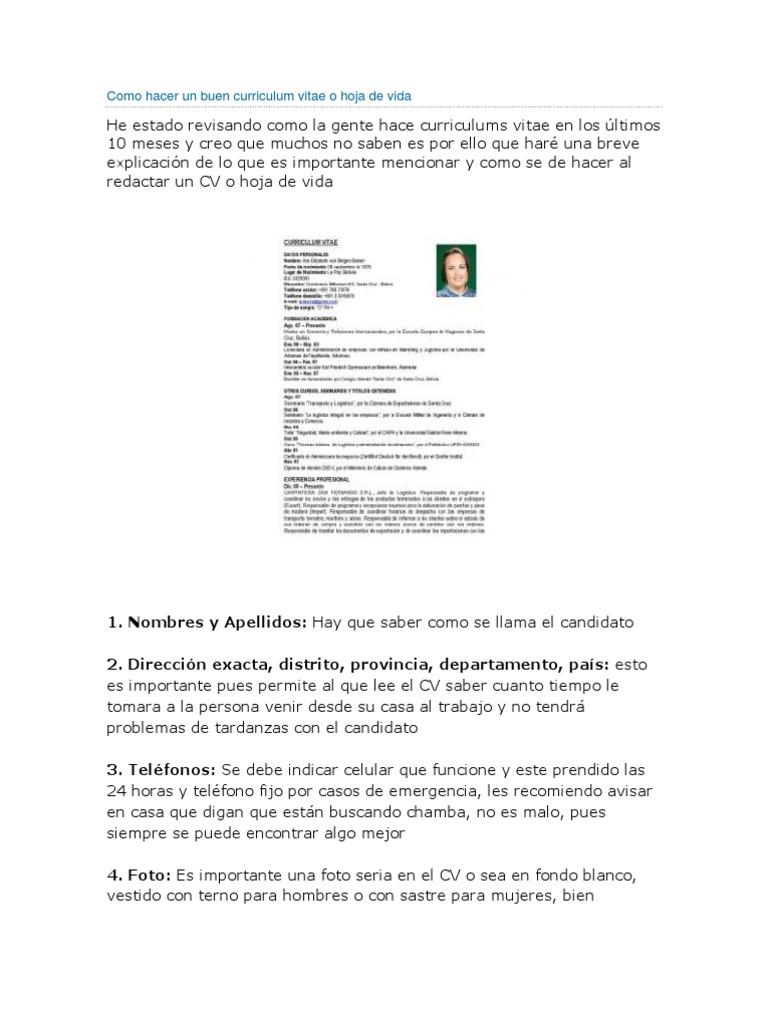 Contemporáneo Preparar Un Buen Currículum Ilustración - Ejemplo De ...