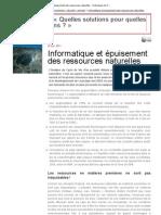 Informatique et épuisement des ressources naturelles - Techniques de l'Ingénieur