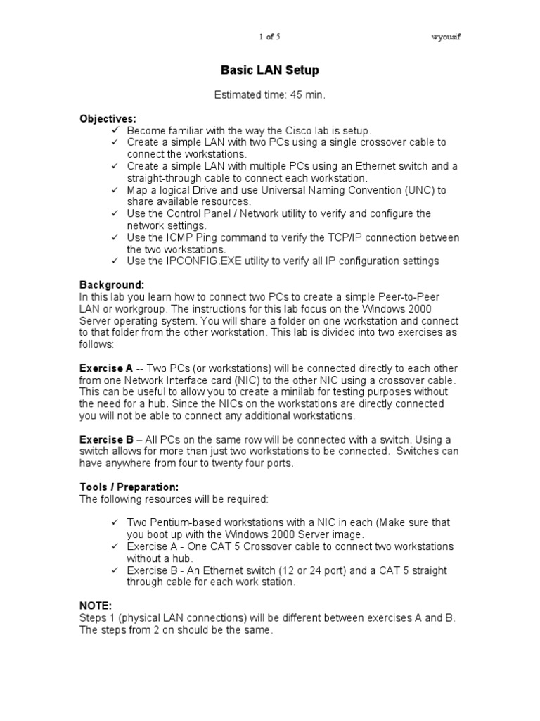 Basic Lan Setup Network Interface Controller Computer Ether Crossover Cable Diagram Further Also Cat 5