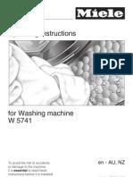 Miele Washing Machine W5741 Manual