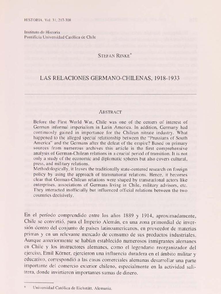 Rinke-stefan Las Relaciones Chileno Alemanas
