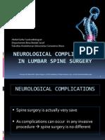 Neurological Complications in Lumbar Spine Surgery