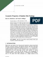 Boris D. Lubaehevsky and Frank H. Stillinger- Geometric Properties of Random Disk Packings