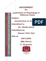 Application of Psychology in Different Fields