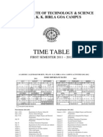 Timetable First Sem 2011-12 (18 July 11)
