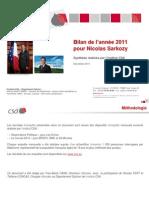 Bilan de la popularité de Nicolas Sarkozy en 2011 - CSA