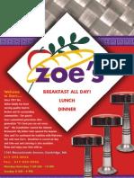 ZOES menu