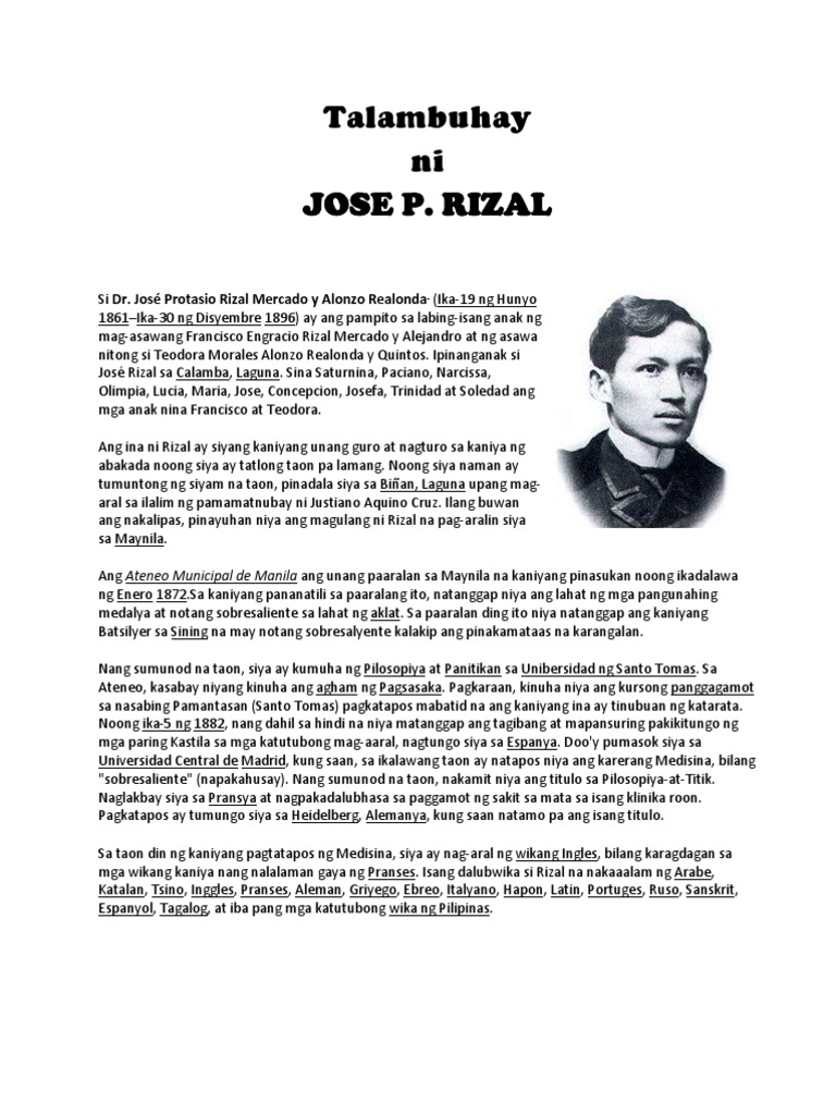 jose rizal a biographical sketch Biographical sketch lesson plan activity - the teacher will read an example of a biographical sketch of jose rizal - let the students note the information being.