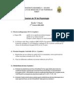 Examen TP Physiologie 2009