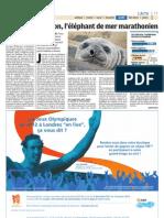 L'éléphant de mer marathonien - Le Parisien - 19 décembre 2011