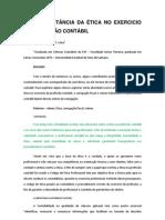 A IMPORTÂNCIA DA ÉTICA NO EXERCICIO DA PROFISSÃO CONTÁBIL