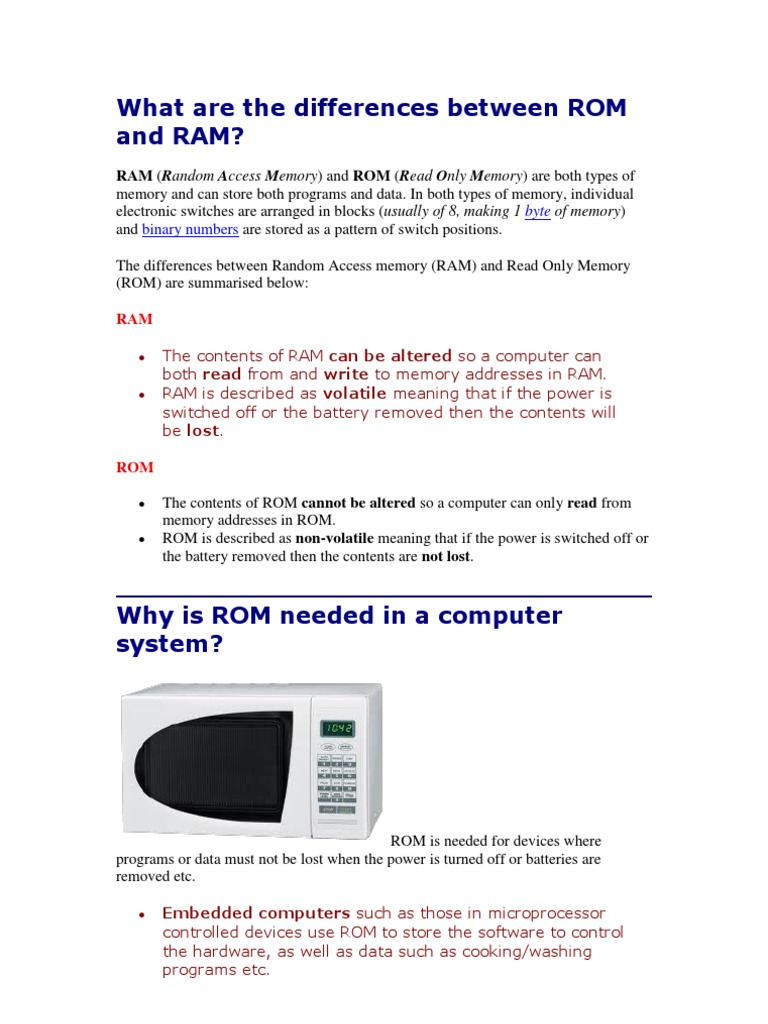 What Are the Differences Between ROM and RAM | Computer Data Storage