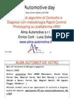 Sviluppo di algoritmi di controllo e diagnosi con metodologia Rapid Control Prototyping su piattaforma cRIO