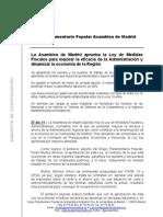 La Asamblea de Madrid aprueba la Ley de Medidas Fiscales