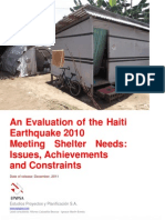 An Evaluation of the Haiti  Earthquake 2010 Meeting Shelter Needs
