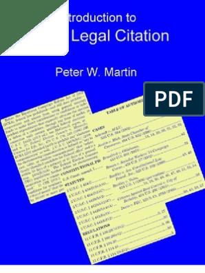 Basic Legal Citation | Case Citation | Citation