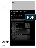 EXPLORE PLAN and ACT Abbreviated Test Booklet