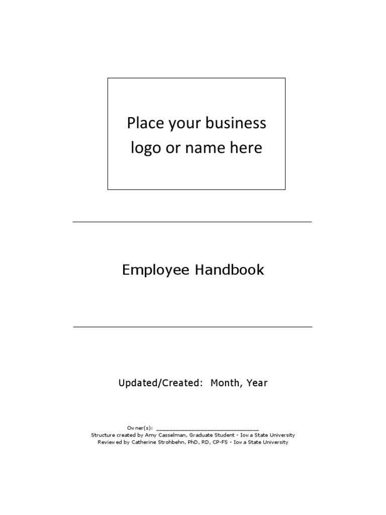 employee handbook template kitchen employment. Black Bedroom Furniture Sets. Home Design Ideas