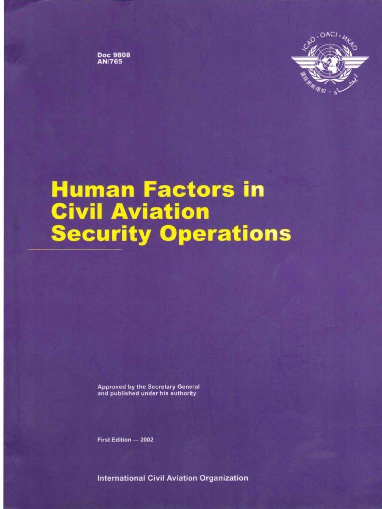 Doc 9808 - Human Factors in Civil Aviation Security Operations |  Educational Technology | Human Factors And Ergonomics
