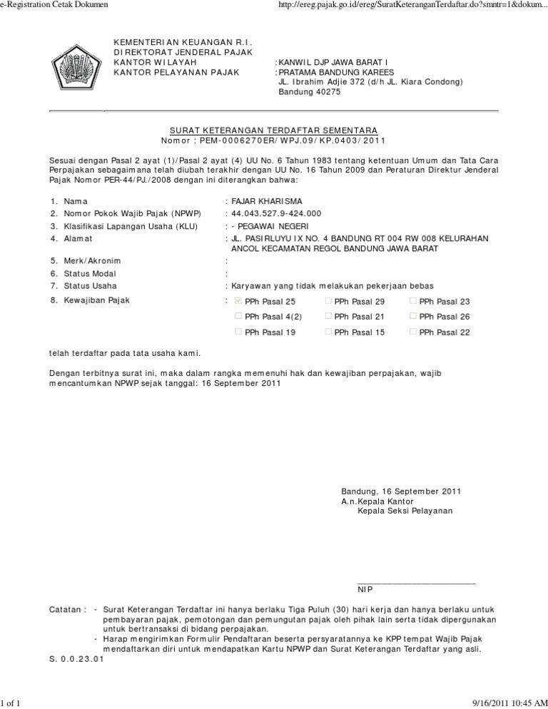 Kumpulan Ilmu Dan Pengetahuan Penting Contoh Surat Keterangan Terdaftar