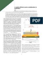 Roi Baer and Eran Rabani- Can impact excitation explain efficient carrier multiplication in carbon nanotube photodiodes?