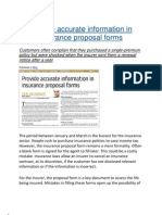 Provide Accurate Information in Insurance Proposal Forms