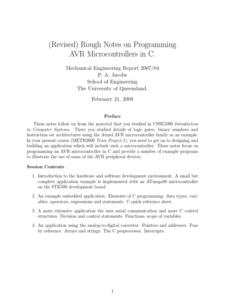 Programming Avr Micro Controllers In C Parameter Computer Pic Microcontroller Primer Tutorial 1 Control Flow