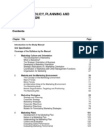 Marketing Policy, Planning and Communication Study Manual